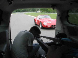 View out of minivan on the track - Ferrari 250 GTO